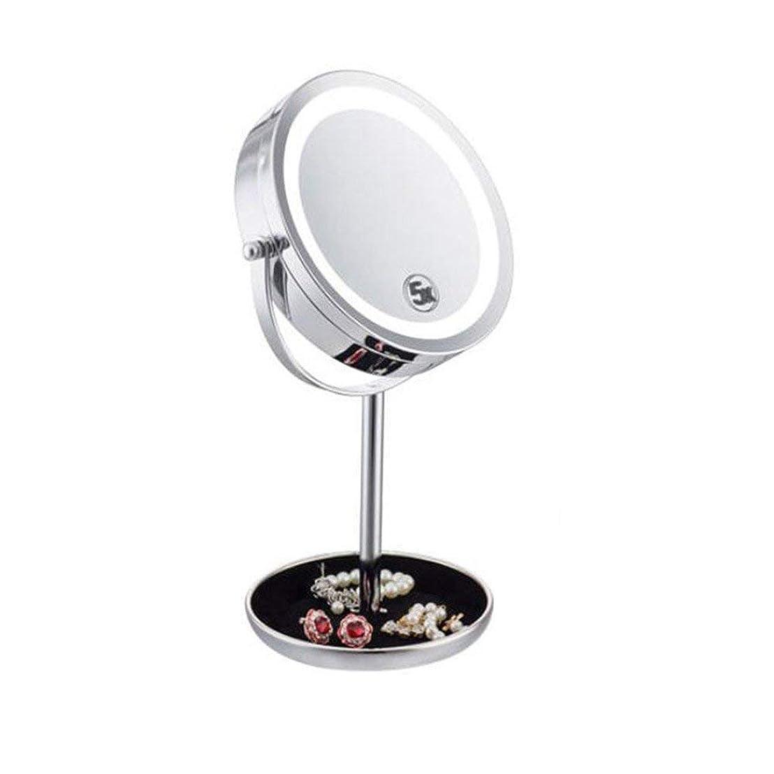 ピルファーアフリカフレアLEDライトライトメイクアップミラー両面5倍虫眼鏡360o回転テーブルタッチセンサーミラー