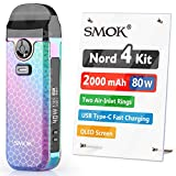 Official SMOK Nord 4 E Cigarette Vape Starter Kit, 80W 2000mAh, 2ml Airflow Control Vaping, OLED Display, USB Type-C Fast Charging, RPM Mesh 0.4ohm Coil preinstalled, No Nicotine, 7-Color Armor