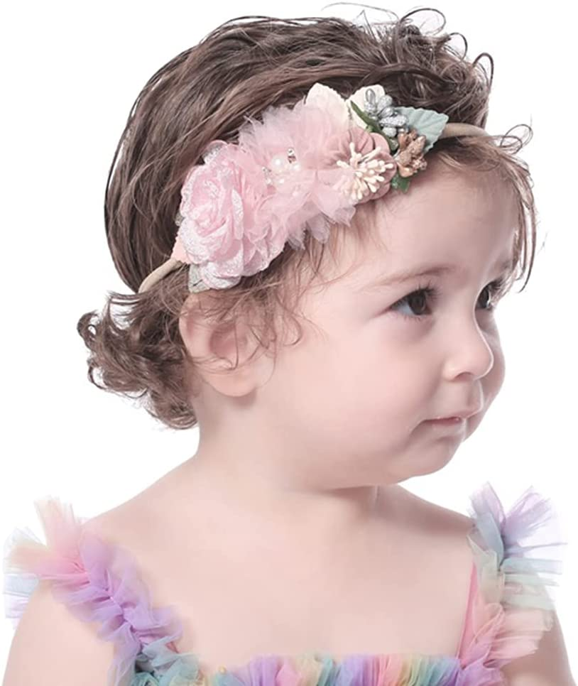 Wiwpar Flower Crown Headband Flower Headwear Hair Bands Elastic Adjustable Head Piece Girl's Hairbands for Toddler and Childrens (Style 1)