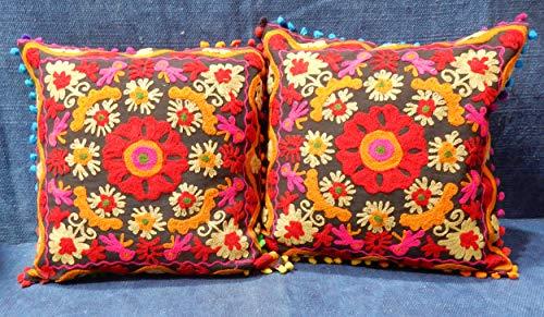 iinfinize – 2 fundas de cojín bordadas vintage para cojín de suelo Uzbeko, Suzani, con pompones de sofá, funda de almohada decorativa, funda de almohada tradicional, almohada de 16 pulgadas, cuadrada, hippie