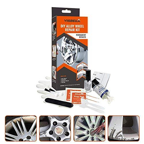 Alufelgenreparatur-Klebesatz, Schnellreparatur-Allzweck-Silberlack-Fixierwerkzeug, Autoreifen-Pflegezubehör, für Auto-Auto-Felgen-Dellen-Kratzer (A)