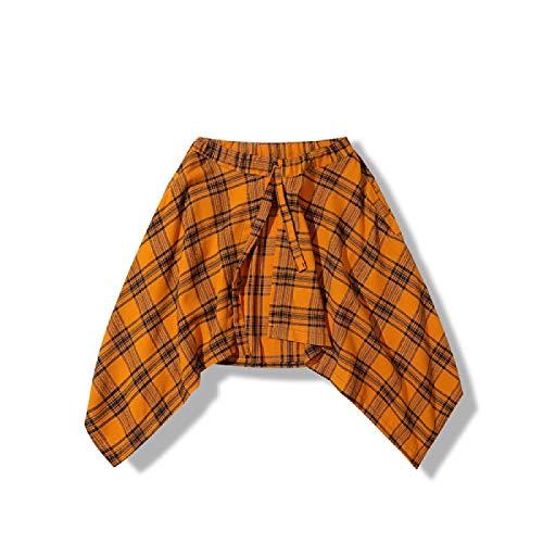 Kilts Skirt Baggy Scottish Tartan Shorts Skirts Men Irregular Hemline Hip Hop Waist Plaid Skirt Women Urban Streetwear Dance Skirts For Male Orange