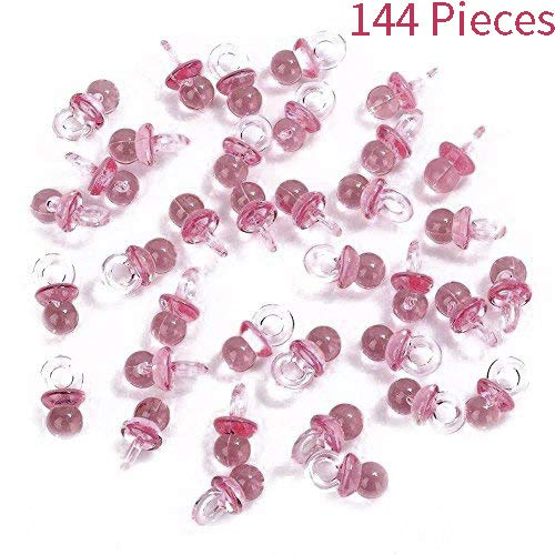 Adorox (144 Pieces) Pink Acrylic Baby Pacifiers Baby Shower Decoration Table Scatter