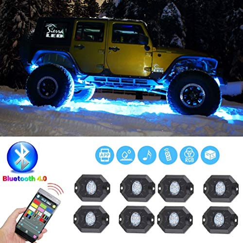ZGAUTO LED Rock Light Bluetooth Contralled With Music Mode & Timing & Flashing & Automatic Control For Off Road Truck SUV ATV Motorcycle