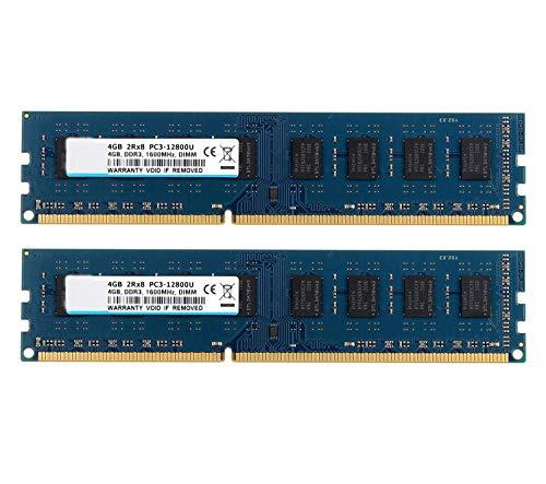 BPX Kit RAM 8GB (2X 4GB) 2RX8 DDR3 1600MHz UDIMM PC3-12800 CL11 1.5v (240 Pin) Módulo de Memoria RAM de Escritorio sin ECC, sin búfer, Compatible con el Sistema Intel AMD