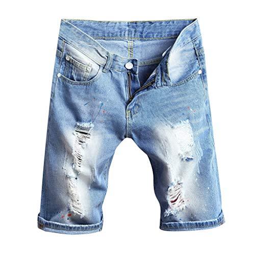 GreatestPAK Herren Lose Zerrissene Jeans Kurze Hosen Neu Sommer Strand Freizeit gerade Hosen Strand-Kurzschlüsse Denim 1/2 Kurzschlüsse,Hellblau,EU:L(Tag:36)