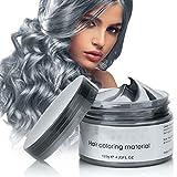Cire Couleur Cheveux, Cire de Modelage de Cheveux Cire Coloration Temporaire Cheveux, Style de Cheveux Mat Naturel Pour Hommes et Femmes, Teinture Capillaire Lavable Wax … (gris argent)