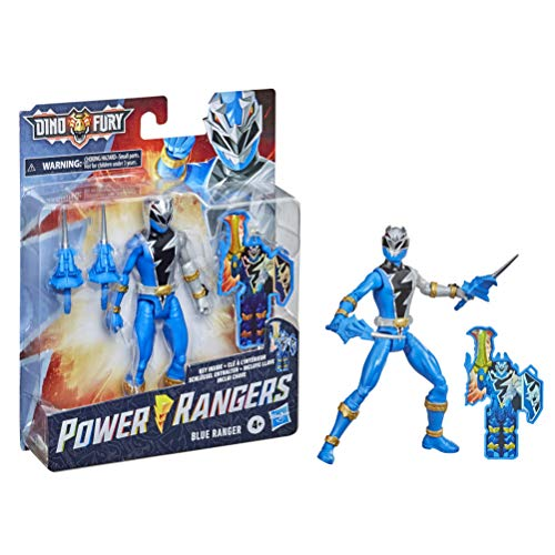 Power Rangers Dino Fury Blauer Ranger 15 cm große Action-Figur inspiriert durch die Serie mit Dino Fury Schlüssel und Waffen ab 4 Jahren