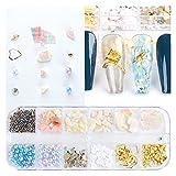 Multa Gold Claves Art Aleación Studs Seaside Decoraciones 3D Mar Concha Estrella Feathers Charm Metal Frame Remaches Accesorios de lentejuelas de uñas para decoración de uñas (Color : S)