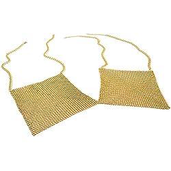 Gold Bikini Bra Chain With Sequin Rhinestone