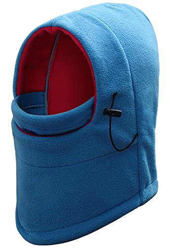 JUSTDOLIFE Unisex Winter Warm Polar Fleece Balaclava Ski Neck Gaiter Hoofddeksels Outdoor Sport Nek Hoofddeksels (Lake Blue)