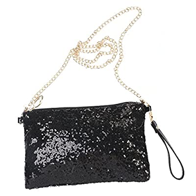 LUOEM Glitter Handbag Purse Shoulder Bag Sequin Evening, Black, Size Medium