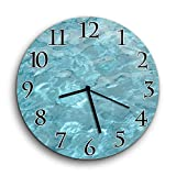 """Water Clock - Ripples and Wave Patterns on Crystal Clear Water Wall Clock Non-Ticking - Silent Wall Clock - 10"""" Decorative Frameless Clock Battery Operated - Contemporary Creative Wall Clock Round"""