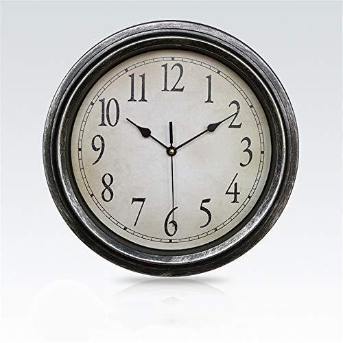 Reloj de Pared Retro de 32 cm Reloj Envejecido Reloj de Pared Redondo silencioso sin tictac para decoración del hogar para el hogar/Oficina/Escuela (Plateado 32 cm)