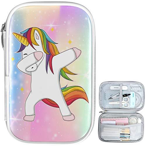Oarencol Dabbing Unicorn Galaxy Estuche de lápices de dibujos animados lindo caballo cremallera pluma bolsa gran capacidad cosmética bolsa papelería caja