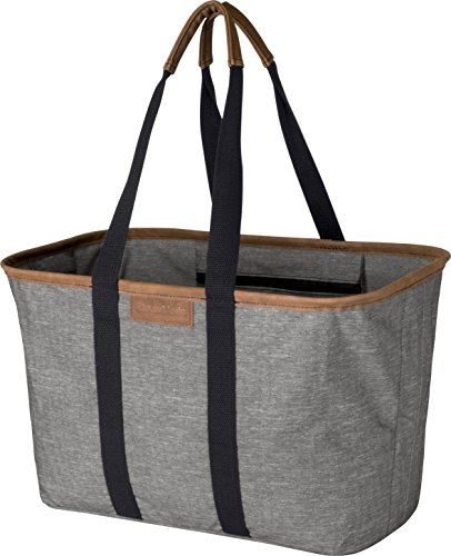 CleverMade 30L SnapBasket LUXE - Reusable Collapsible Durable Grocery Shopping Bag - Heavy Duty Large Structured Tote Heather Grey