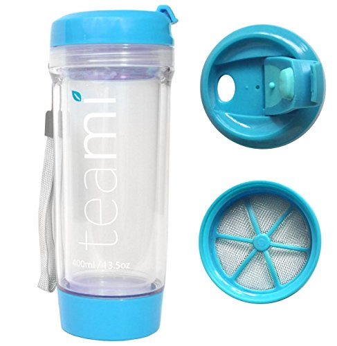 FRUIT INFUSER Water Bottle Tumbler with a Lid | 100% BPA FREE | Our Best Infusion Bottles for Infused Fruit, Smoothies, Tea, and Coffee | Double Walled Mug, Hot & Cold (13.5 Ounces, Blue)