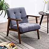 Altrobene Mid-Century Modern Chair Retro Accent Chair Tufted Lounge Chair Reading Club Side Slipper Armchair for Living Room, Bedroom, Office, Grey