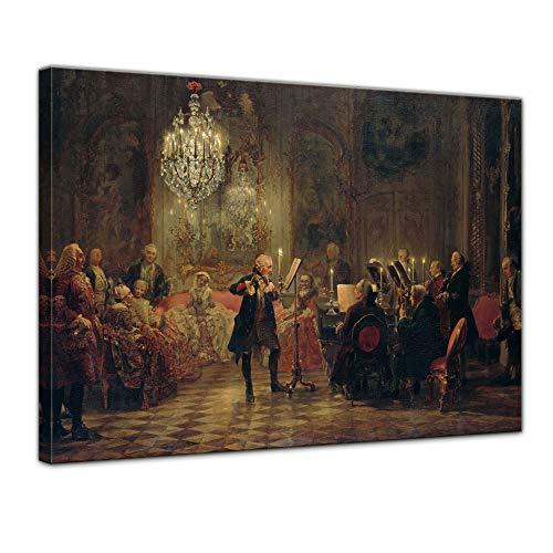 Wandbild Adolph von Menzel Flötenkonzert Friedrichs des Großen in Sanssouci - 70x50cm quer - Alte...