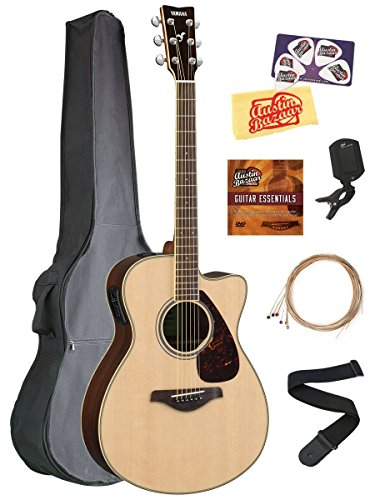 Yamaha FSX830C Solid Top Small Body Acoustic-Electric Guitar - Natural Bundle with Gig Bag, Tuner, Strings, Strap, Picks, Austin Bazaar Instructional DVD, and Polishing Cloth