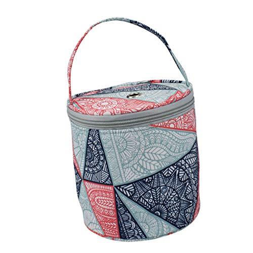 YOSIYO Crochet de Hilo Redondo Bolsa de Asas del Arte de DIY Organizador de Lana de Almacenamiento Cesta de Costura Accesorios Bolsa - Patrón 2