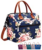 Leakproof Insulated Lunch Tote Bag with Adjustable & Removable Shoulder Strap, Durable Reusable lunch Box Container for Women/Men/Kids/Picnic/Work/School-Peony Blue