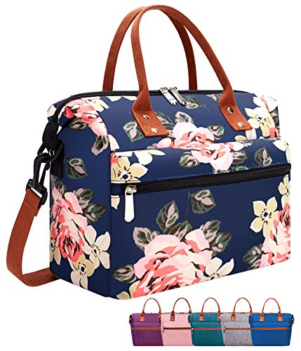 Leakproof Insulated Lunch Tote Bag with Adjustable & Removable Shoulder Strap, Durable Reusable lunch Box Container for Women/Men/Picnic/Work-Peony Blue…