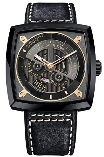 Agelocer Luxury Watch Men Designer Square Watch Waterproof Leather Strap All Black Watches 5603J3
