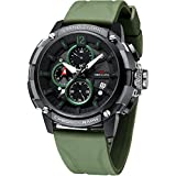 MEGALITH Men's Watch 50mm Rubber Chronograph Waterproof Large Face Watch Silicone Military Sport Analog Heavy Duty Watches for Men Luminous Multifunctional Designer Gents Wrist Watches Navy Green
