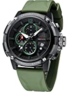★Unique and Stylish Design★: The Megalith brand is designed for men, leading the trend of mens sports watches. Sports large face design with army green rubber strap, chronograph, date, luminous hands, waterproof, analog display. This men's wrist watc...