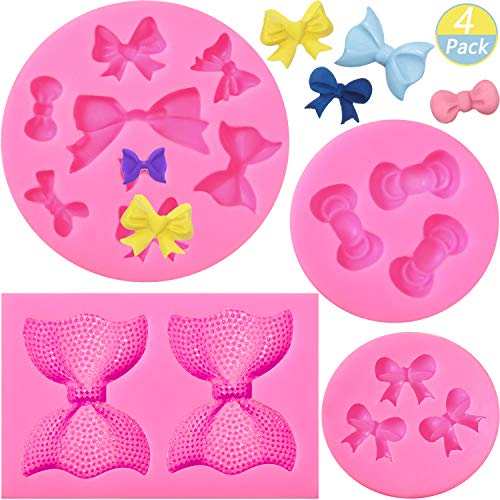 4 Pieces Bow Silicone Fondant Molds Bowknot Fondant Chocolate Candy Molds...