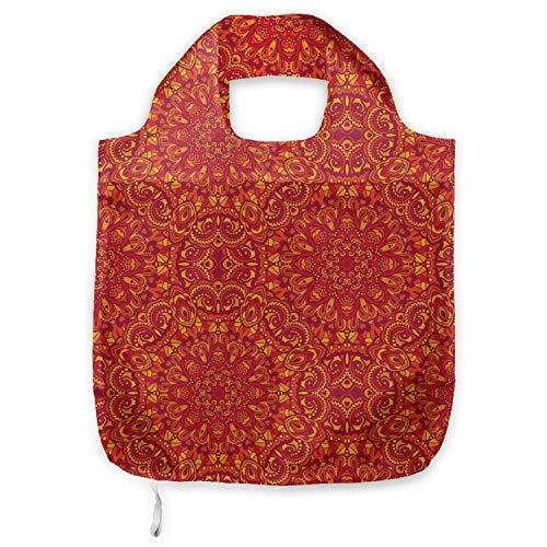 ABAKUHAUS Red Mandala Tragetasche aus Stoff, orientalisch, Praktische Altagsmode Einkaufstaschen, Lila Senf orange