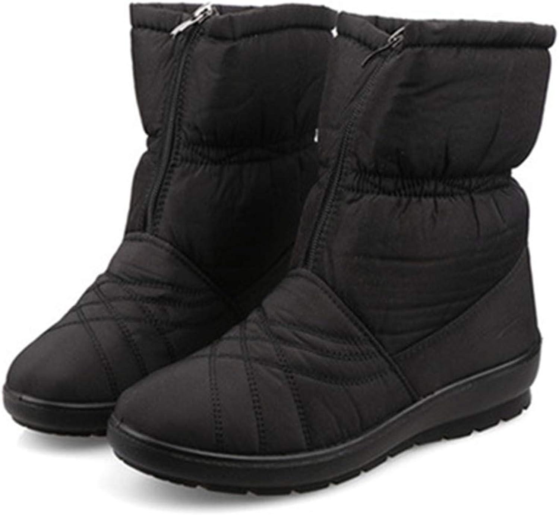 Women's Autumn Warm Fashion Fur Zip Waterproof Antiskid Winter Snow Boots