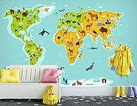 YCRY-壁紙3Dアンテロープの世界地図 -壁の装飾-ポスター画像写真-HD印刷-現代の装飾-壁画-400x280cm