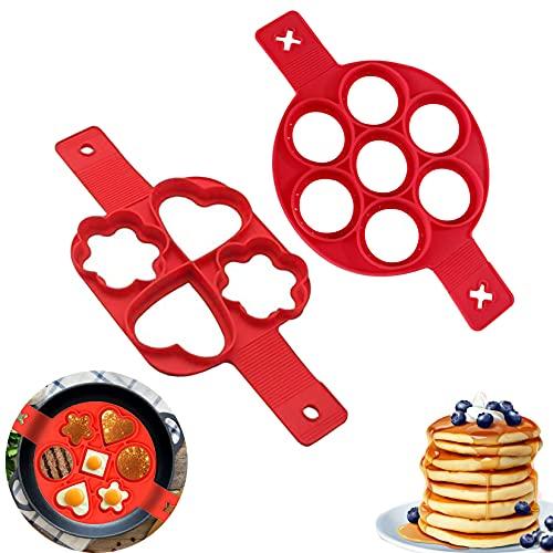 2PCS Moules à Pancakes, Pancake Moule Silicone, Omelette Moule Pancake, 2 Formes, Anti-adhésif en Silicone, Sain, Facile à Laver, Utilisation Double Face, pour Les Crêpes Omelettes
