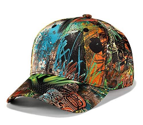 DOCILA Funny Skull Pattern Snapback Hats Men Cool School Season Graffiti Sun Visor Cap Trendy (Yellow Green)