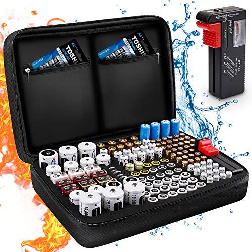 Batterie Aufbewahrungsbox Feuerfeste Tragetasche Batteriebox mit Tester Hält 139+ Batterien unterschiedlicher Größe für AAA,AA, 9V,C und D Größe (Batterie Nicht im Lieferumfang Enthalten)