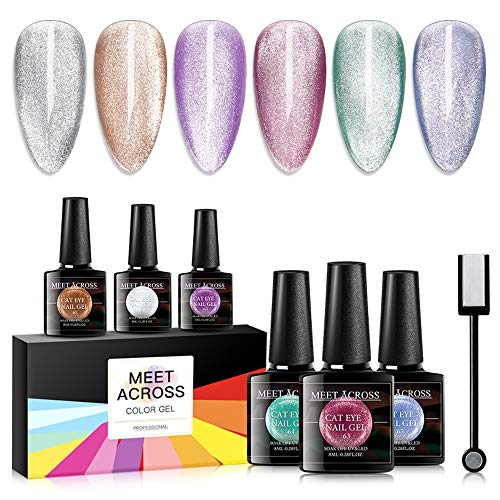 Cat Eye Gel Nail Polish Set Soak Off UV LED light Starry Sky Effect Magic Gel Nail Polish Kit Manicure Nail Art Gift Kit 6 Colors Free Magnet Stick