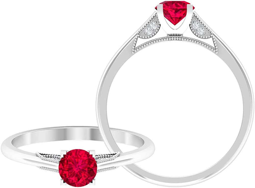 Ruby Solitaire Ring Large special price 0.5 CT HI-SI Weekly update MM Engagement 0.8 Diamond