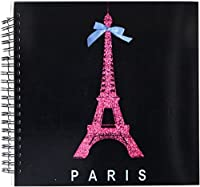 3dRose db_112908_2 Hot Pink Paris Eiffel Tower from France with Girly Blue Ribbon Bow-Black Stylish Modern France-Memory Book, 12 by 12-Inch [並行輸入品]