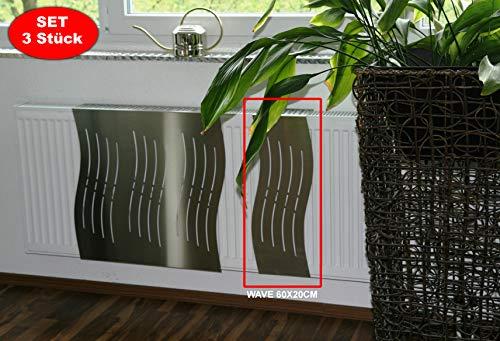 Heizkörperverkleidung 60 x 20 cm Design: Wave, Edelstahl (SET=3 Stück) Marke: Szagato (Heizkörper-abdeckung für Heizkörper/Heizung Heizungs-verkleidung Heizkörper-verkleidung Heizungs-abdeckung)
