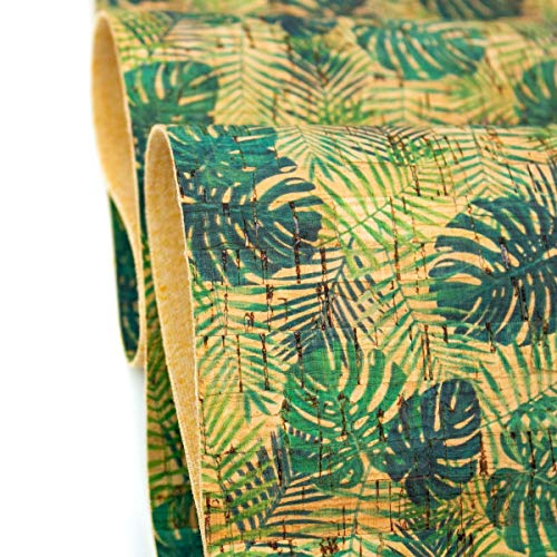 The Cork Collection - cork fabric - Cork Fabrics - Palm and Areca Palm leafs pattern Cork Fabric COF-244 - 1M (100*138cm/ 39*54 inches)