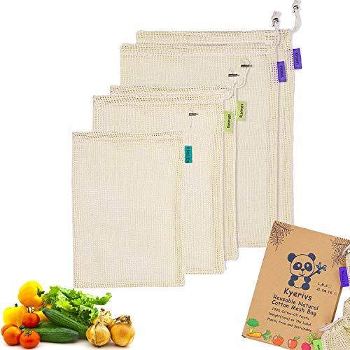 Kyerivs Gemüsebeutel aus Baumwolle für obst und -gemüse, aus Bio-Baumwolle, 5 Stück (2 L, 2 M, S) Zero-Waste