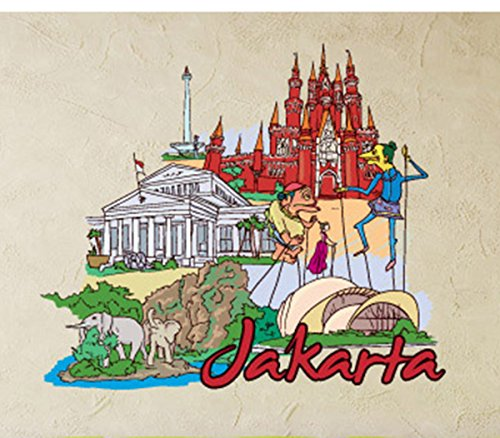 Famous City Jakarta Wall Decals Stickers USColor072, Brown w/White Blue Yellow Red, 15 Inches