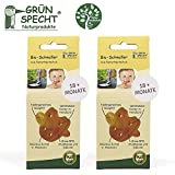Gruenspecht Chupete orgánico de caucho natural, 18 meses, juego de 2, escudos suaves en forma de corazón, forma ortopédica