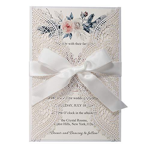 Biglietti d'invito in pizzo floreale tagliati al laser bianco, con fogli interni di perle e buste per eleganti Invito a nozze battesimo bambina compleanno, 20 pezzi