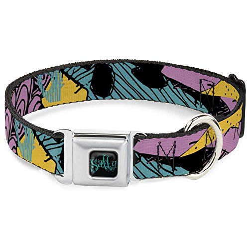 Dog Collar Seatbelt Buckle Nightmare Before Christmas Sally Dress Patchwork 18 to 32 Inches 1.5 Inch Wide