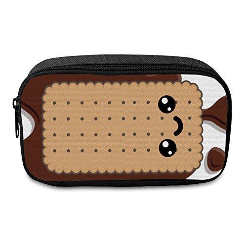 Fringoo®, großes Federmäppchen mit Reißverschluss für Jungen und Mädchen, mit lustigem Emoji-Motiv, Mehrfarbig - Biscuit Face - Größe: Large