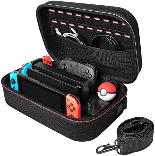 Deruitu Hestia Goods - Funda de Transporte para Nintendo Switch, portátil, para Viajes, con Forro Suave, para 18 Juegos, Color Negro