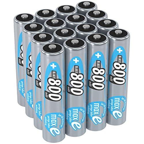 ANSMANN Akku AAA Micro 800mAh 1,2V NiMH 16 Stück für Geräte mit hohem Stromverbrauch - Wiederaufladbare Batterien maxE - Akkus für Spielzeug Taschenlampe Stirnlampe uvm - Rechargeable Batteries